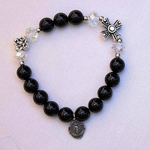 Black Onyx Rosary Bracelet with Miraculous