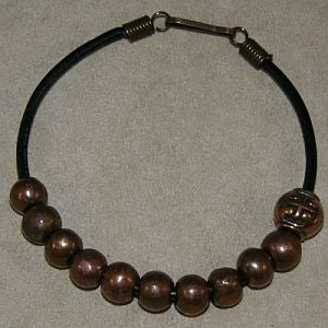 Mens Bronze Cross Bead Rosary Bracelet