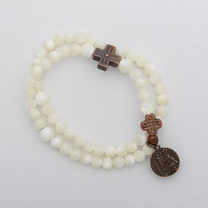 Mother of Pearl Rosary Bracelet with St. Peregrine Medal (lung cancer color)