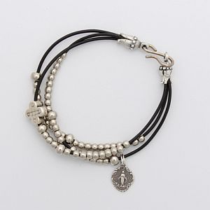 Silver and Leather Rosary Bracelet with Miraculous