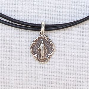 Tiny Miraculous Mary Choker, Sterling or Bronze