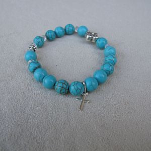 Turquoise First Communion Rosary Bracelet