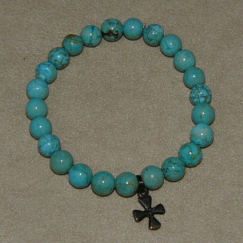 Turquoise Bracelet with Peace charm, or cross