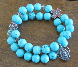Our Lady of Guadalupe Turquoise Double Rosary Bracelet