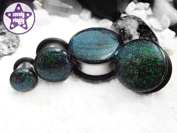 Ear Plugs / Gauges: Interstellar Overdrive Blue Green Faux Dichroic