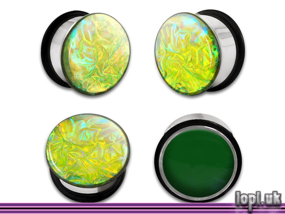 Ear Plugs / Gauges: Alien Skin 03 Green Yellow Textured Faux Dichro