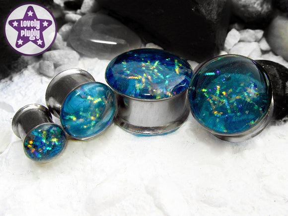 Ear Plugs / Gauges: Entanglement Turquoise Green Gold Galaxy Glitter