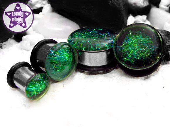 Ear Plugs / Gauges: Subspace Green Black Galaxy Spaghettified Sparks