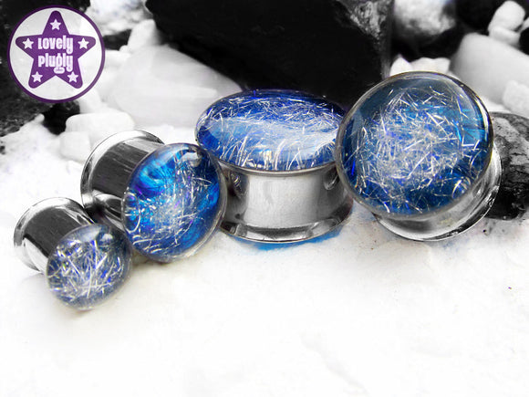 Ear Plugs / Gauges: Subspace Silver Blue Galaxy Spaghettified Sparks