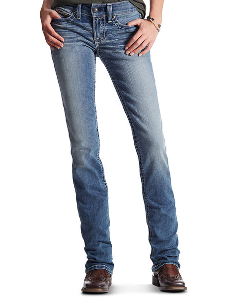 Womens Jeans - Ariat Ladies Mid Rise Straight Fit Rainstorm Jean/10017212 - Ariat - Mock Brothers Saddlery and Western Wear
