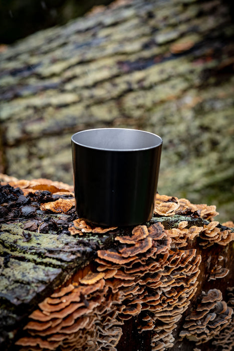 THE DOM original tin cup whiskey glass tumbler outdoors on a wooden background