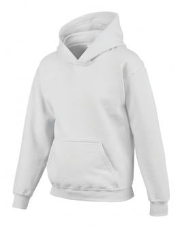 WHITE GILDAN® HEAVY BLEND™ HOODED YOUTH SWEATSHIRT. 185B