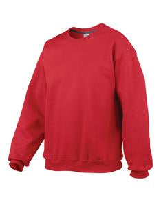 RED GILDAN® PREMIUM COTTON RING SPUN FLEECE CREWNECK SWEATSHIRT. 92000
