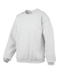 WHITE GILDAN® PREMIUM COTTON RING SPUN FLEECE CREWNECK SWEATSHIRT. 92000