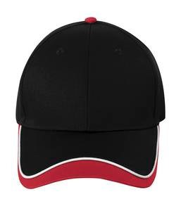 BLACK / WHITE / RED ATC CONTRAST TIPPED VISOR CAP. C1304