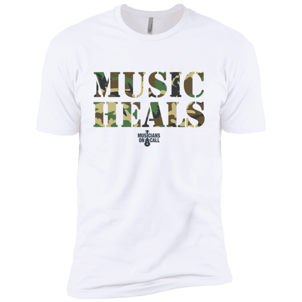 Music Heals Camo Stencil Tee [Available In White And Sand]