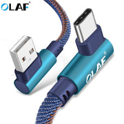OLAF 2m USB Type C 90 Degree Fast Charging usb c cable Type-c data Cord Charger - MAXELAR
