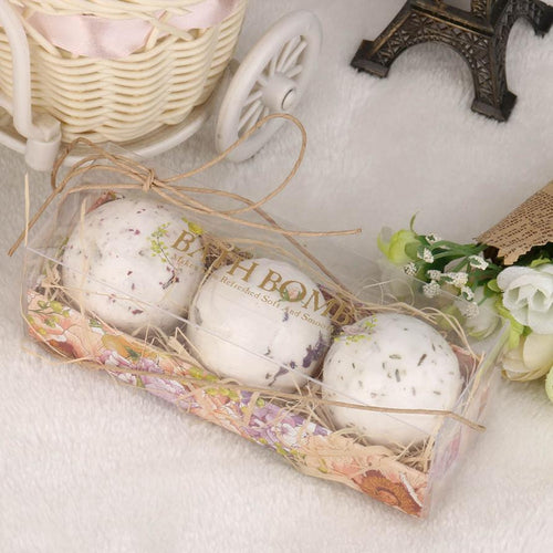 3Pcs Natural Sea Salt Bath Ball Set Lavender Rose Flow Bath Bombs Ball Lavender Bubble Essential Body Scrub #622