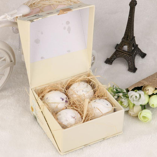 4pcs Bath Bomb Ball Lavender Handmade Sea Salt SPA Bath Explosive Salt Dried Flowers Series of Effervescent Bath Salt Ball #622