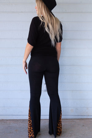 Black and Leopard Insert Bell Bottoms
