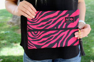 Pink & Black Zebra Make Up Junkie Bags