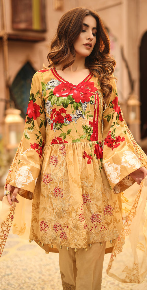 Festive Printed Lawn with Embroidered Shirt , Chiffon Embroidered Dupatta & Trouser Bunches | 3pc (WK-291B)