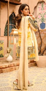 Festive Stitched Printed Lawn with Embroidered Shirt , Chiffon Embroidered Dupatta & Trouser Bunches | 3pc (WK-292A)