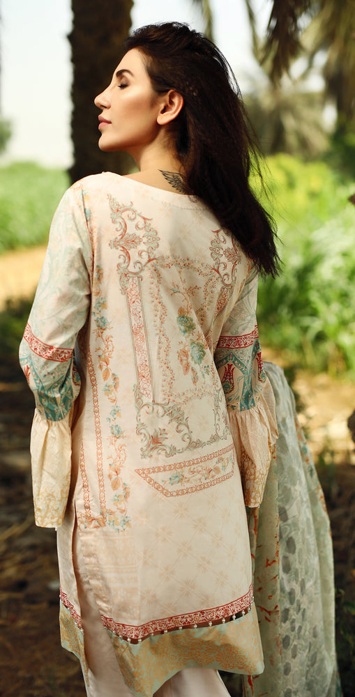 Printed Cambric Shirt with Embroidered Front & Broshia Jacquard Dupatta | 3pc  (RC132A)