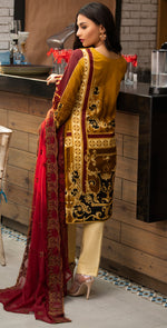Stitched Embroidered Lawn Shirt with Chiffon Embroidered Dupatta & Trouser Bunches | 3pc (WK-262A)