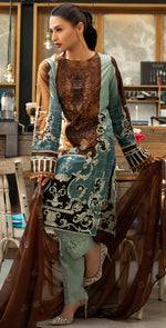 Stitched Embroidered Lawn Shirt with Chiffon Embroidered Dupatta & Trouser Bunches | 3pc (WK-262B)