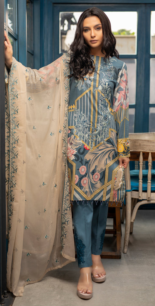 Stitched Embroidered Lawn Shirt with Chiffon Embroidered Dupatta & Trouser Bunches | 3pc (WK-266A)