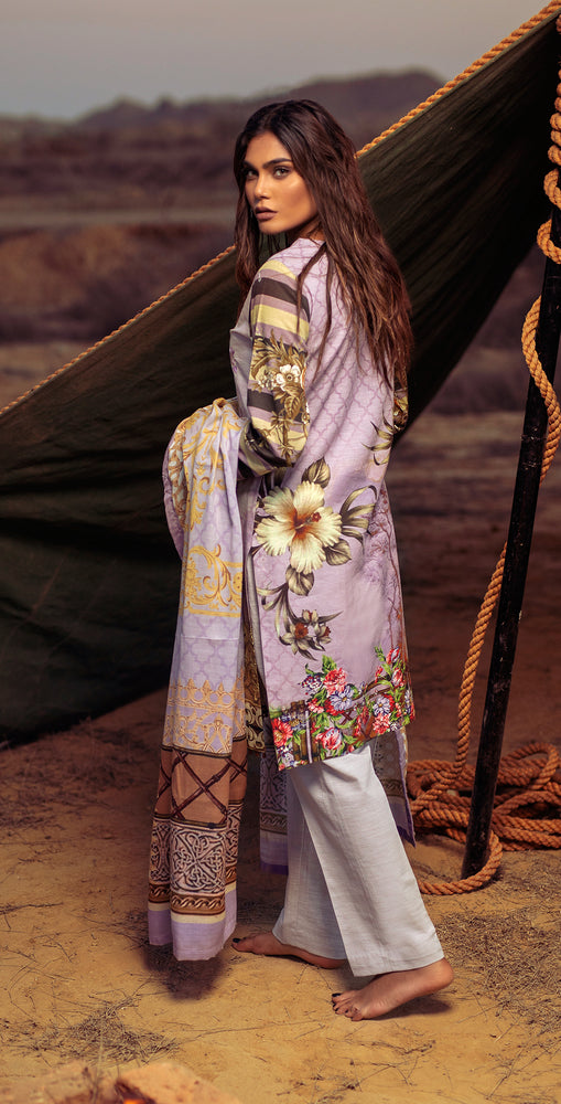 Digital Printed Khaddar Shirt with Embroidered Front & Shawl Dupatta | 3pc (WK-188)