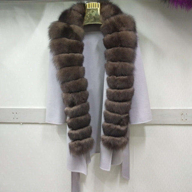 New brand double-faced wool blend natural fox fur jacket with belt leather ladies jacket new women's fox fur jacket