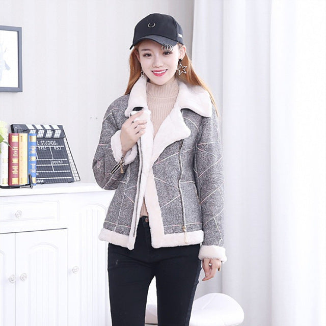 Genuine sheepskin coats womens real fur coat shearling jacket real fur jacket sheep fur coat leather jacket with fur gray C181