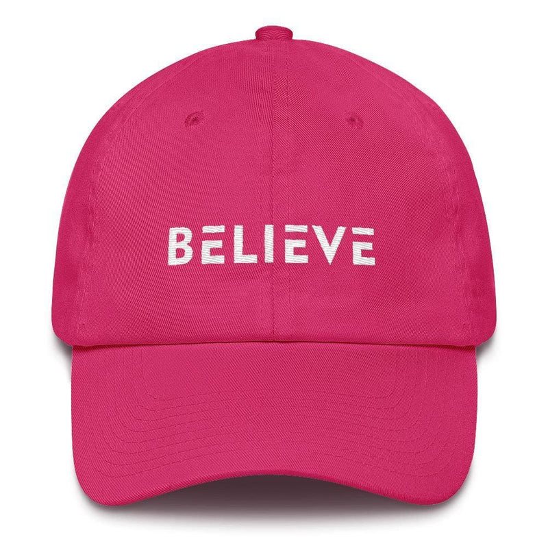 Believe Adjustable Cotton Baseball Cap (Dad Hat) - One-size / Bright Pink - Hats