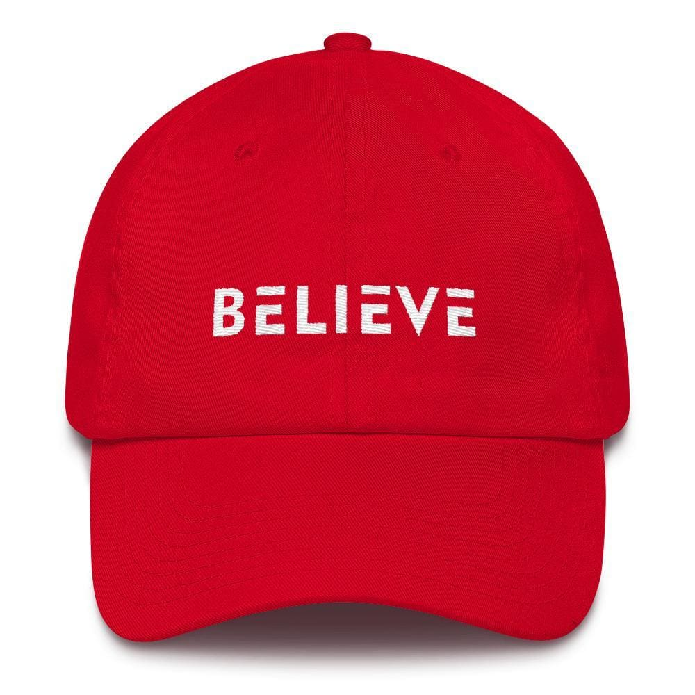 Believe Adjustable Cotton Baseball Cap (Dad Hat) - One-size / Red - Hats