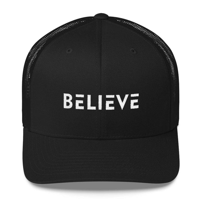 Believe Snapback Trucker Hat Embroidered in White Thread - One-size / Black - Hats