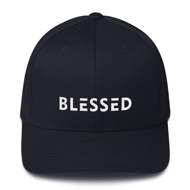 Blessed Fitted Flexfit Twill Baseball Hat - S/m / Dark Navy - Hats