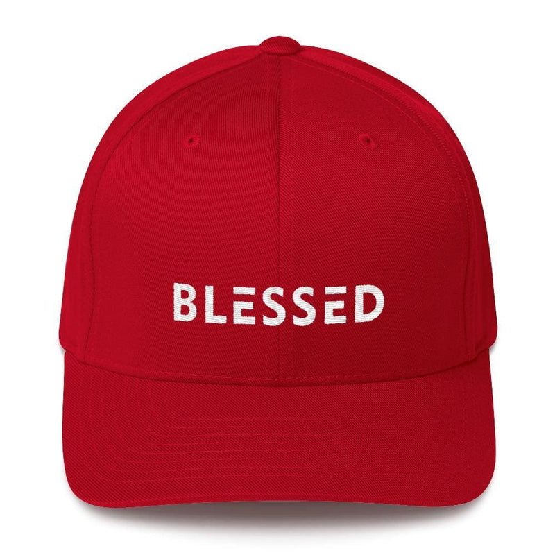 Blessed Fitted Flexfit Twill Baseball Hat - S/m / Red - Hats