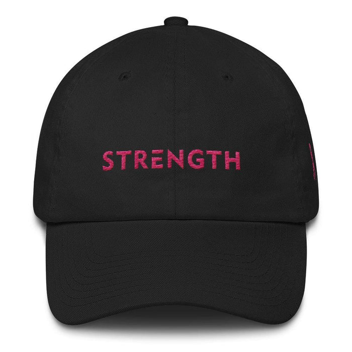 Breast Cancer Awareness Dad Hat with Strength and Pink Ribbon - One-size / Black - Hats