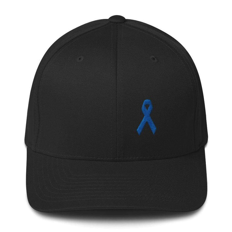 Colon Cancer Awareness Twill Flexfit Fitted Hat With Dark Blue Ribbon - S/m / Black - Hats