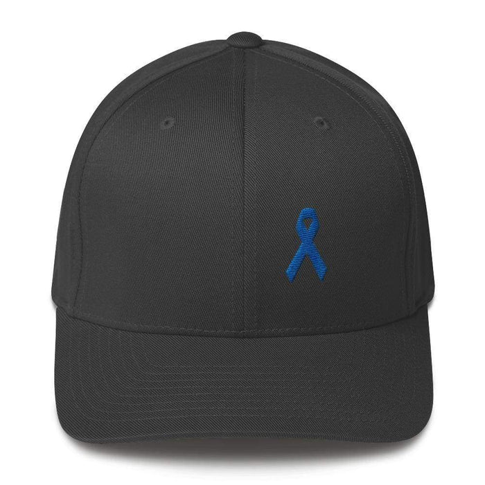 Colon Cancer Awareness Twill Flexfit Fitted Hat With Dark Blue Ribbon - S/m / Dark Grey - Hats