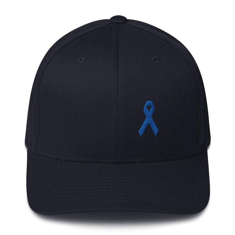 Colon Cancer Awareness Twill Flexfit Fitted Hat With Dark Blue Ribbon - S/m / Dark Navy - Hats