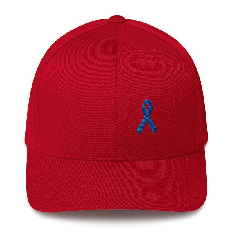 Colon Cancer Awareness Twill Flexfit Fitted Hat With Dark Blue Ribbon - S/m / Red - Hats