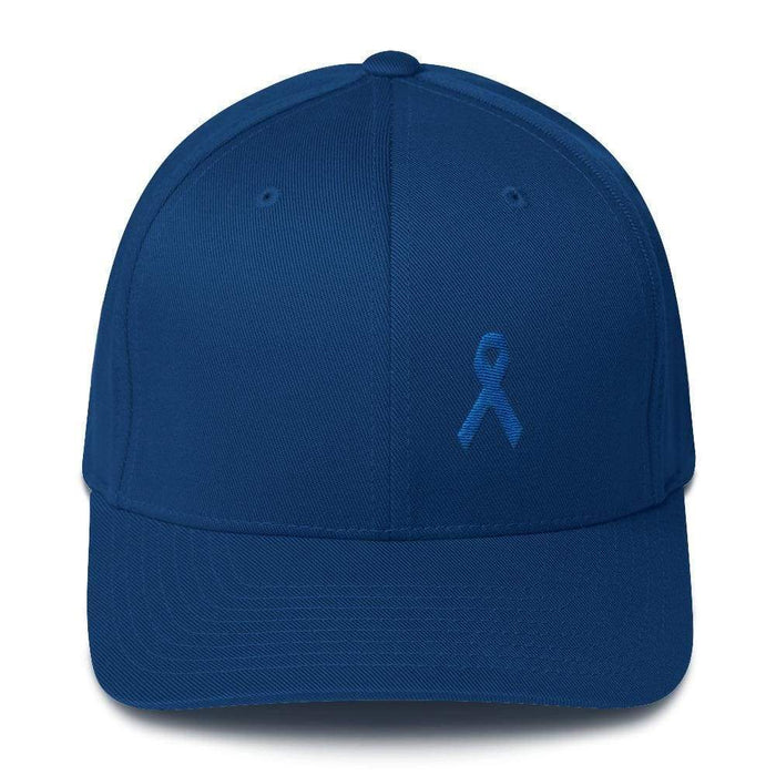 Colon Cancer Awareness Twill Flexfit Fitted Hat With Dark Blue Ribbon - S/m / Royal Blue - Hats