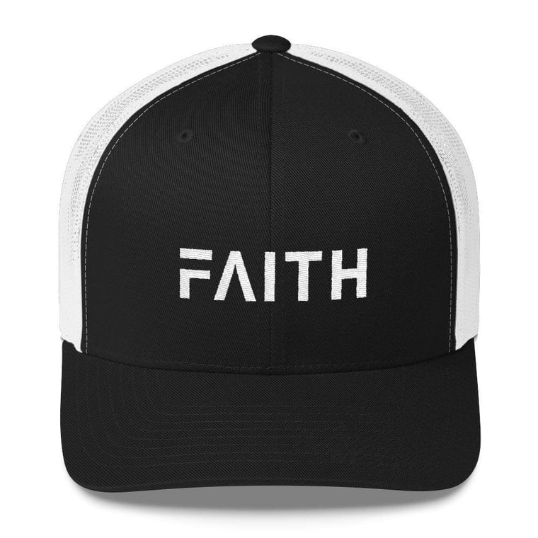 FAITH Christian Snapback Trucker Hat Embroidered in White Thread