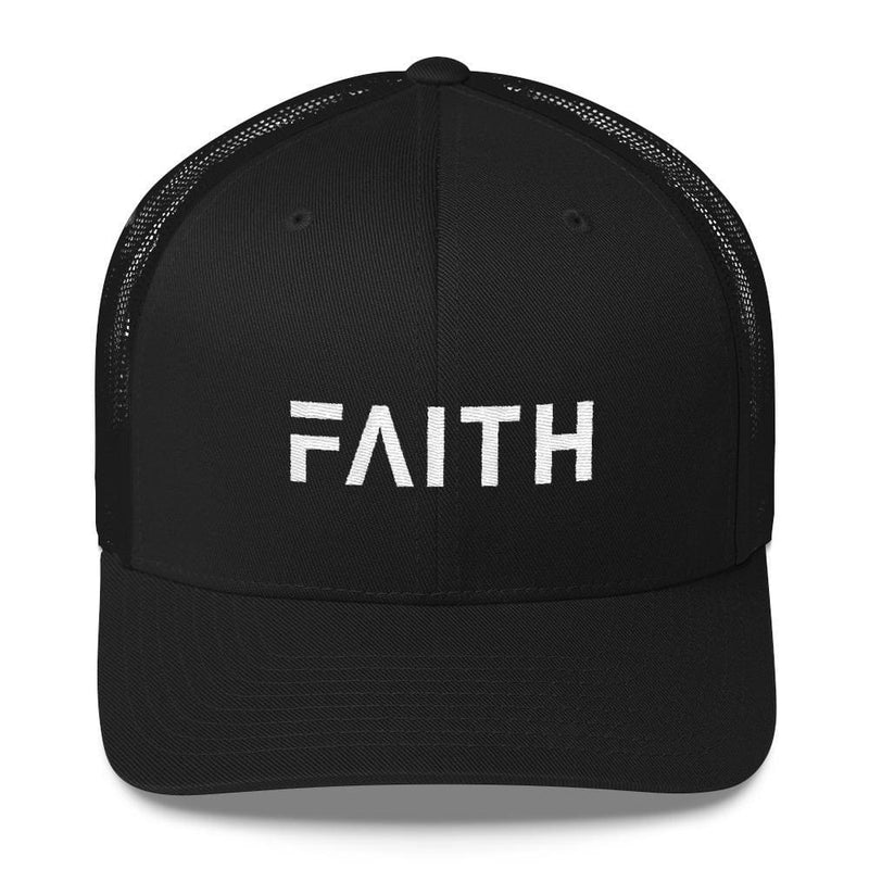 FAITH Christian Snapback Trucker Hat Embroidered in White Thread - One-size / Black - Hats