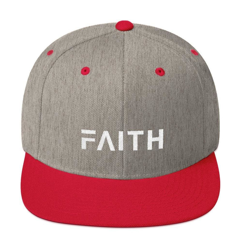 Faith Snapback Hat with Flat Brim - One-size / Heather Grey/ Red - Hats