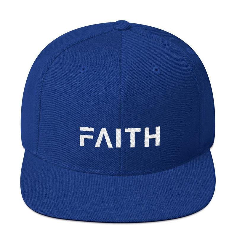 Faith Snapback Hat with Flat Brim - One-size / Royal Blue - Hats