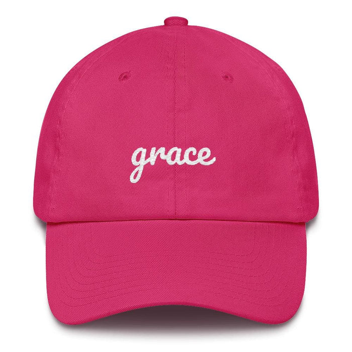 Grace Scribble Christian Adjustable Cotton Baseball Cap - One-size / Bright Pink - Hats